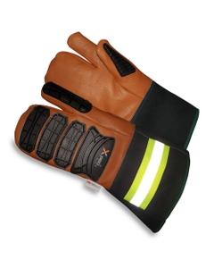 Tan/Black Goatskin Anti-Impact Oilfield Work Glove Mittens w/Cuff, Cut Resistant
