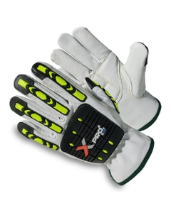 Gray/Black Goatskin Anti-Impact Oilfield Work Gloves, Cut Resistant