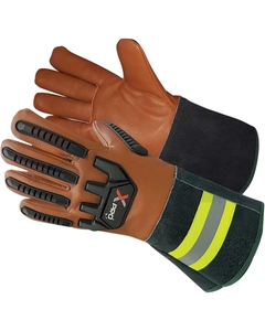 Tan/Black Goatskin Anti-Impact Oilfield Work Gloves w/Cuff, Cut Resistant
