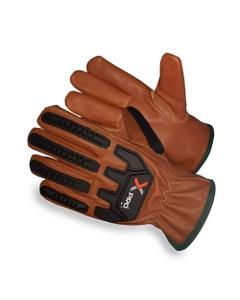 Tan/Black Goatskin Anti-Impact Oilfield Work Gloves, Cut Resistant