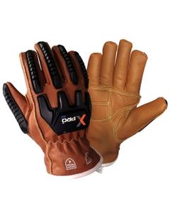 Tan/Black Goatskin Anti-Impact Oilfield Work Gloves w/Gel Padding, Cut Resistant