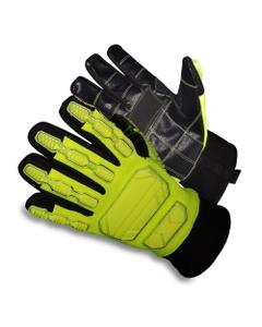 Neon Green/Black PU Anti-Impact Oilfield Work Gloves, Cut Resistant