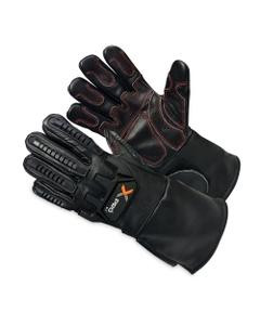 Black Cowhide Anti-Impact Welding Work Gloves w/Cuff, Cut Resistant