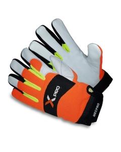 Orange Cowhide Mechanics Work Gloves, Cut Resistant