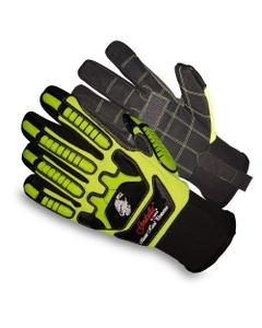 Neon Green/Black PU Heavy Duty Oilfield Work Gloves, Cut Resistant