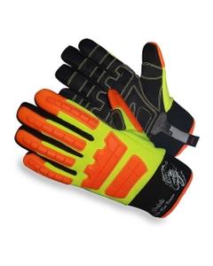 Neon Green/Orange Synthetic Leather Heavy Duty Oilfield Work Gloves, Cut Resistant
