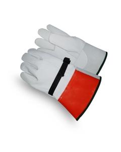 White/Orange Goatskin Electrical Welding Work Gloves w/Cuff