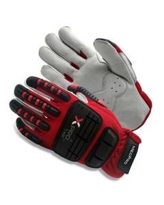 Red/Black Goatskin Anti-Impact Mechanics Work Gloves, Cut Resistant