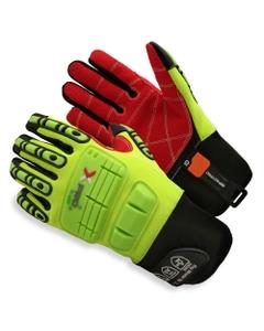 Neon Green Armortex Anti-Impact Oilfield Work Gloves w/Neoprene Cuff, Cut Resistant