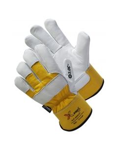White/Yellow Cowhide Winter Work Gloves w/Cuff