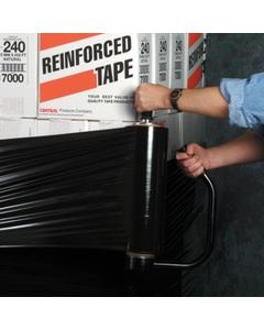 "80 Gauge - 18"" x 1500' Black Blown Stretch Wrap Film, 4/pk"
