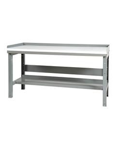 """48"""" x 30"""" Plastic Top Workbench w/ Backboard & Lower Shelf - Adjustable Height"""