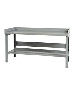 """60"""" x 24"""" Steel Workbench w/ Backboard & Lower Shelf - Adjustable Height"""