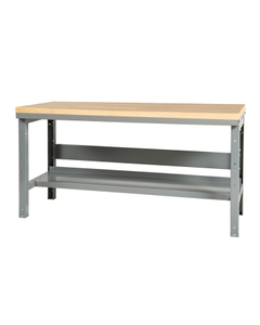 "72"" x 36"" Wood Top Workbench w/ Lower Shelf - Adjustable Height"