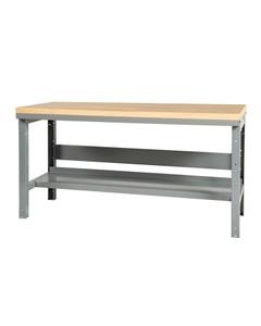 "60"" x 24"" Wood Top Workbench w/ Lower Shelf - Adjustable Height"