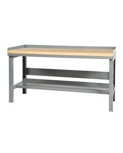 """60"""" x 24"""" Wood Top Workbench w/ Backboard & Lower Shelf - Adjustable Height"""