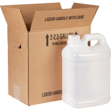 2 X 1 Reshipper for 2.5 Gallon Plastic F-Style Bottles w/Hand Holes and Black Up Arrow Print