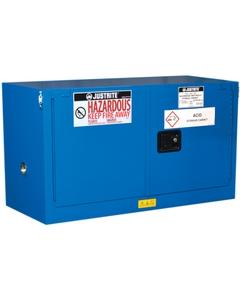 ChemCor® Lined Piggyback Hazardous Material Safety Cabinet, 17 Gallon, S/C Doors, Royal Blue