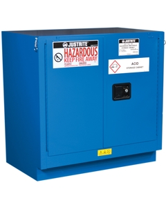 ChemCor® Lined Undercounter Hazardous Material Safety Cabinet, 22 Gallon, S/C Doors, Royal Blue