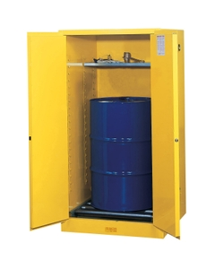 Sure-Grip® EX Vertical Drum Safety Cabinet w/Rollers, M/C Doors, Yellow