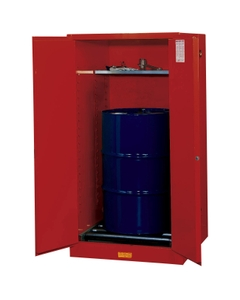 Sure-Grip® EX Vertical Drum Safety Cabinet w/Rollers, S/C Doors, Red