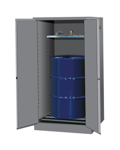 Sure-Grip® EX Vertical Drum Safety Cabinet w/Rollers, S/C Doors, Gray