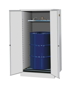 Sure-Grip® EX Vertical Drum Safety Cabinet w/Rollers, S/C Doors, White