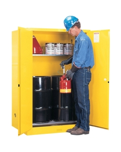 Sure-Grip® EX Vertical 2-30 Gallon Drum Safety Cabinet w/Rollers, M/C Doors, Yellow