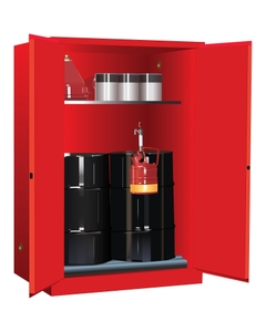 Sure-Grip® EX Vertical 2-30 Gallon Drum Safety Cabinet w/Rollers, M/C Doors, Red