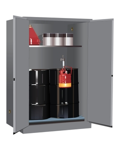 Sure-Grip® EX Vertical 2-30 Gallon Drum Safety Cabinet w/Rollers, M/C Doors, Gray