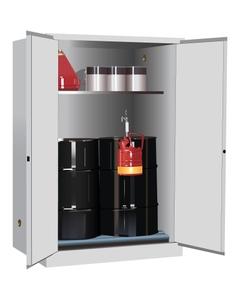 Sure-Grip® EX Vertical 2-30 Gallon Drum Safety Cabinet w/Rollers, M/C Doors, White