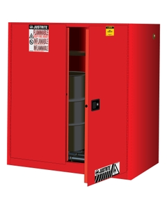 Sure-Grip® EX Vertical 2-30 Gallon Drum Safety Cabinet w/Rollers, S/C Doors, Red