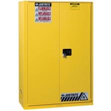 Sure-Grip® EX Flammable Safety Cabinet, 90 Gallon, Bi-Fold S/C Doors, Yellow