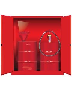 Sure-Grip® EX Vertical 2-55 Gallon Drum Safety Cabinet, M/C Doors, Red