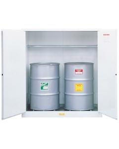 Sure-Grip® EX Flammable Waste Vertical 2-55 Gallon Drum Safety Cabinet, M/C Doors, White