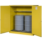 Sure-Grip® EX Vertical 2-55 Gallon Drum Safety Cabinet w/Rollers, M/C Doors, Yellow