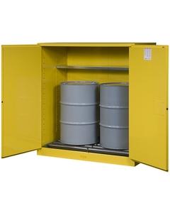 Sure-Grip® EX Vertical 2-55 Gallon Drum Safety Cabinet w/Rollers, M/C Doors, Yellow (Intl)