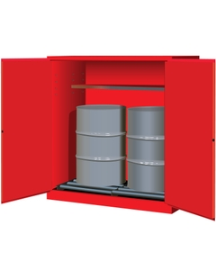 Sure-Grip® EX Vertical 2-55 Gallon Drum Safety Cabinet w/Rollers, M/C Doors, Red