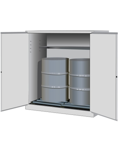 Sure-Grip® EX Vertical 2-55 Gallon Drum Safety Cabinet w/Rollers, M/C Doors, White
