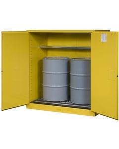 Sure-Grip® EX Vertical 2-55 Gallon Drum Safety Cabinet w/Rollers, S/C Doors, Yellow (Intl)