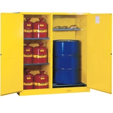 Sure-Grip® EX Double Duty Can/Drum Safety Cabinet w/Rollers, M/C Doors, Yellow
