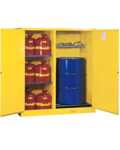 Sure-Grip® EX Double Duty Can/Drum Safety Cabinet w/Rollers, M/C Doors, Yellow (Intl)