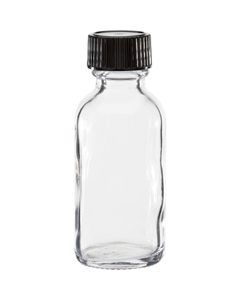 1 oz. Clear Boston Round Glass Bottle w/Black Poly Cone Cap, 20mm 20-400