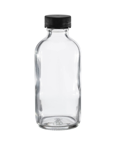 4 oz. Clear Boston Round Glass Bottle w/Black Ribbed F217 Cap, 24mm 24-400
