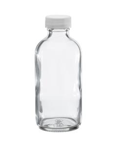 4 oz. Clear Boston Round Glass Bottle w/White Ribbed F217 Cap, 24mm 24-400
