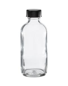 4 oz. Clear Boston Round Glass Bottle w/Black Poly Cone Cap, 24mm 24-400