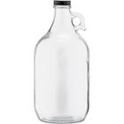 1/2 Gallon (64 oz) Clear Glass Jug, 38mm 38-405, w/Black Metal Cap