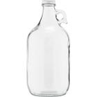 1/2 Gallon (64 oz) Clear Glass Jug, 38mm 38-405, w/WhiteMetal Cap