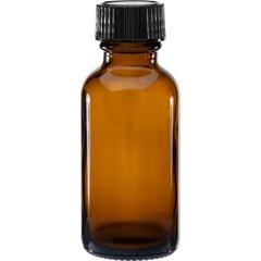 1 oz. Amber Boston Round Glass Bottle w/Black Poly Cone Cap, 20mm 20-400