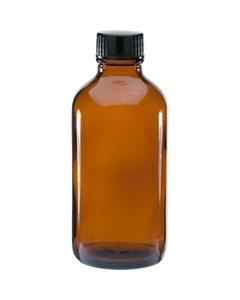 4 oz. Amber Boston Round Glass Bottle w/Black Poly Cone Cap, 22mm 22-400